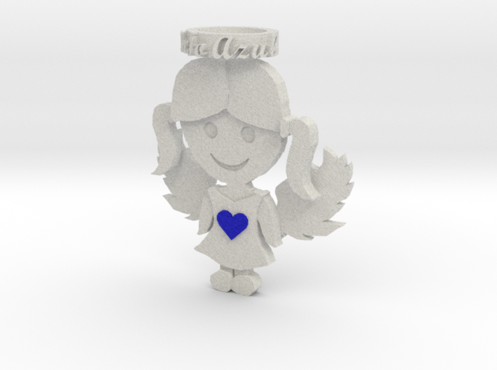 Pendant Full Color Sandstone Blue Angel Girl 3d printed