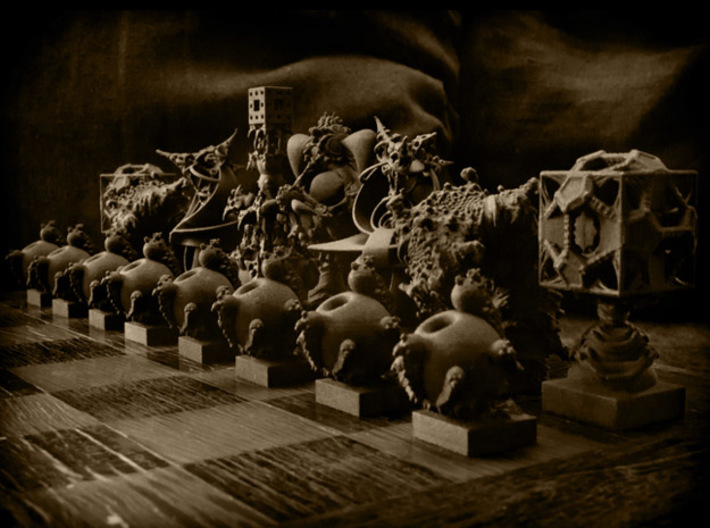 Surreal Chess Set - My Masterpieces - The Pawn 3d printed The full set - Teaser image