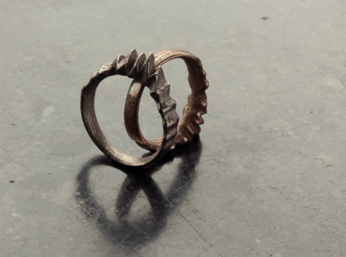 Fluctus Ring 3d printed Ring on the left is in Polished Nickel Steel and the one on the right is in Stainless Steel
