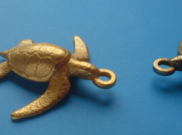 Sea Turtle Pendant 3d printed Polished Gold Steel