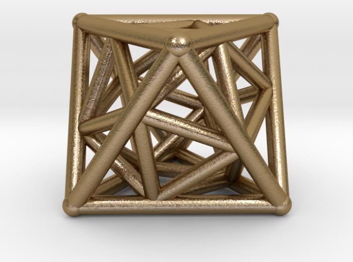 Golden Octahedron Pendant #2 3d printed