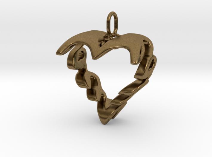 Love Heart Pendant v2 - 22mm 3d printed