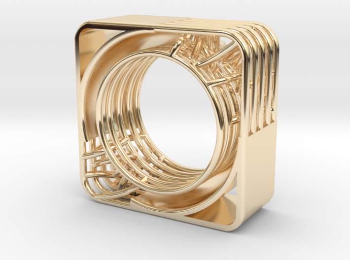 LOFF - wire cubic ring and pendant 2 3d printed