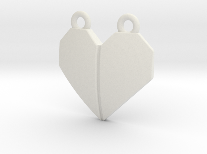 Origami Heart Pendant - w/ center crease 3d printed