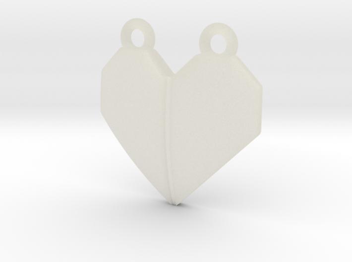 Origami Heart Pendant - w/ center crease 3d printed