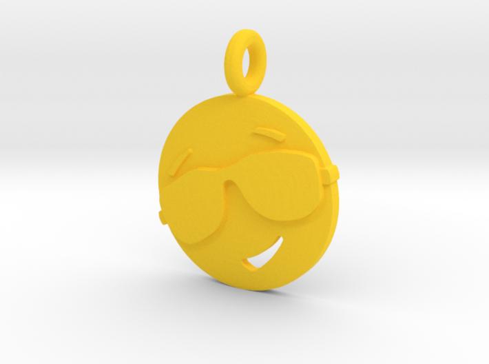 'Sunny' Yellow Plastic Sun Pendant 3d printed