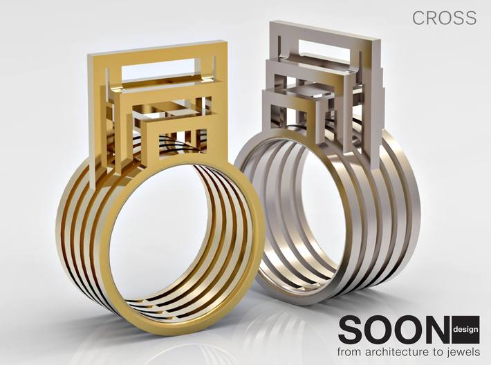 CROSS RING - SIZE 8 3d printed