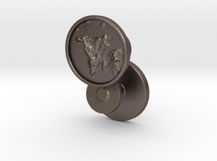 Geographic Topographical Cufflinks - Customizable  3d printed