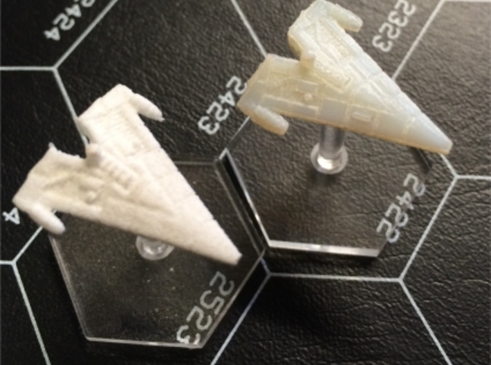 """Orion (KON) Corvette 3d printed Comparison of White Strong & Flexible and Transparent Detail with Litko 3/4"""" flight bases."""