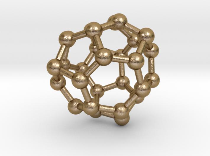 0005 Fullerene c28 td 3d printed Polished Gold Steel
