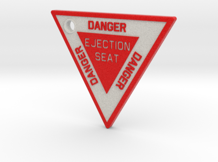2.5 inch KeyChain DANGER EJECTION SEAT Red on Whit 3d printed