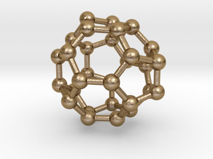 0008 Fullerene c30-3 3d printed Polished Gold Steel