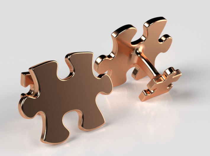Puzzle Cufflinks 3d printed Polished Bronze