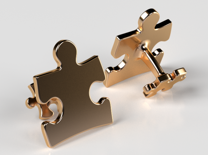 Puzzle Cufflinks Inverted 3d printed 14K Gold