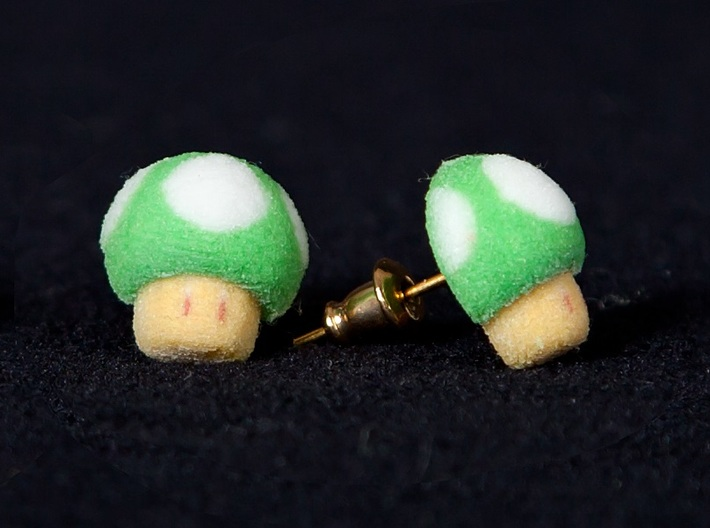 Super Mario Mushroom Earrings Green 3d printed