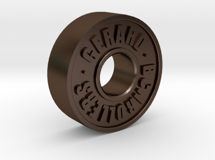 Skateboard Bearing Keychain Pendant - Custom Text  3d printed 1st Model Iteration, letter sharpness/spacing is improved