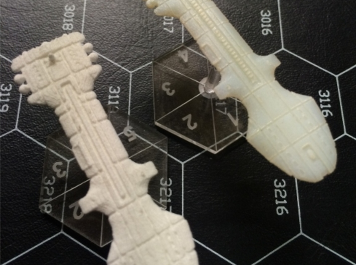 Rigellian (RPSA) Command Cruiser 3d printed Rigellian Command Cruiser in White Strong & Flexible and Transparent Detail, on Litko flight stands.