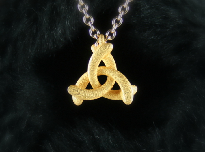 Pendant Trinity No.1 3d printed Polished Gold Steel