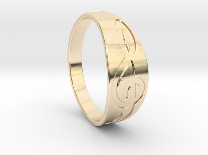 Size 7 M G-Clef Ring Engraved 3d printed