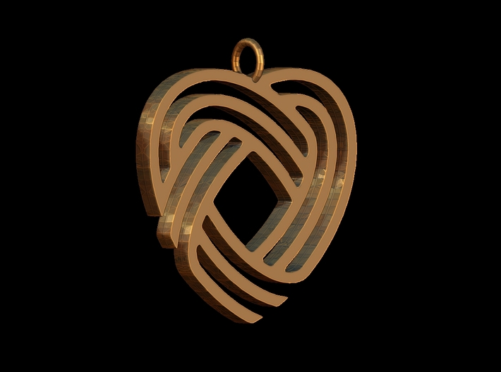 Simply Celtic Heart Necklace 3d printed Render in ZBrush