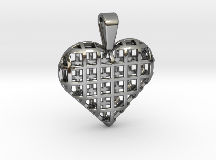Heart wireframe pendant 3d printed