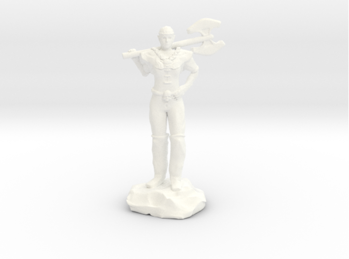 Half Elf Barbarian Woman with Great Axe 3d printed