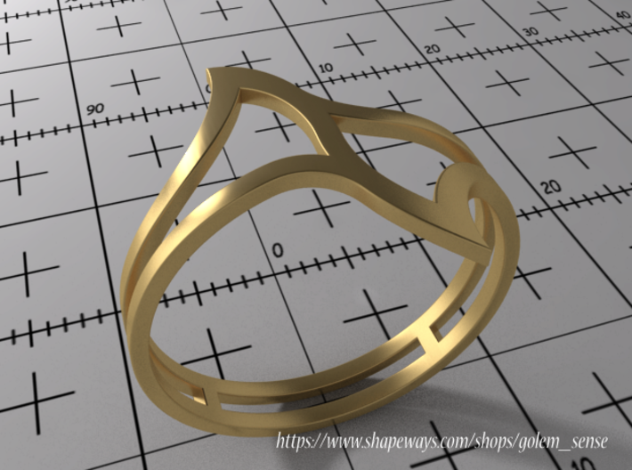 Ring Model E - Size 6 - Gold 3d printed