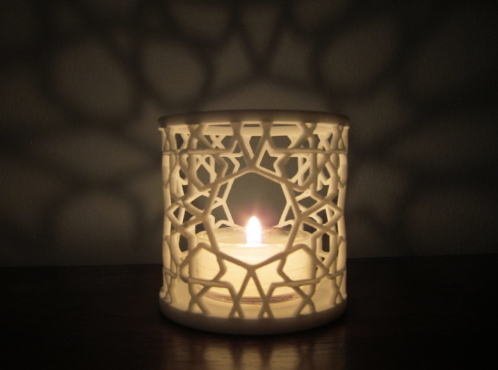 Islamic Tealight Holder 3d printed Showing the beautiful shadows