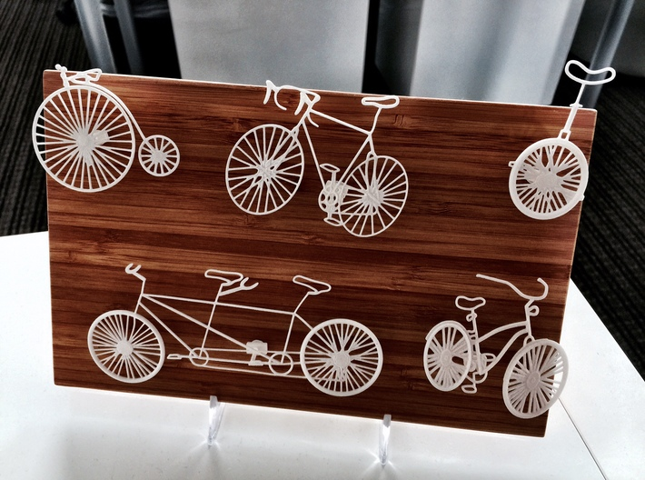 Five Bikes: Wire Wall Art 3d printed