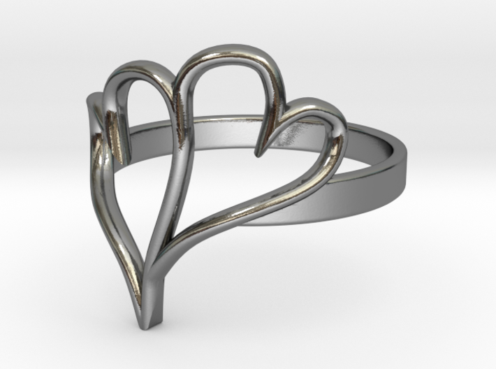 Double Heart Ring (Sz 6) 3d printed