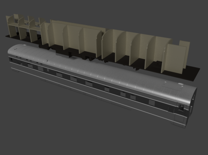 """Pullman 6-6-4 lwt.sleeper, plan 4099 (1/160) 3d printed Plan 4099 painted as AT&SF's """"Valley"""" series, as delivered."""