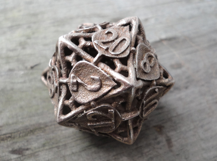 Botanical d20 (Aspen) 3d printed In stainless steel