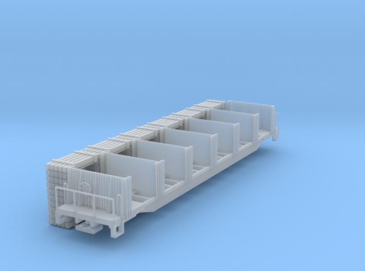 Ties Flat Car with sleepers load N scale (1/160) 3d printed
