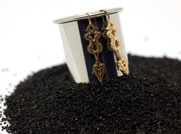 "GREEK ""Σ' Αγαπώ"" Sound Wave Earrings 3d printed Polished Bronze"