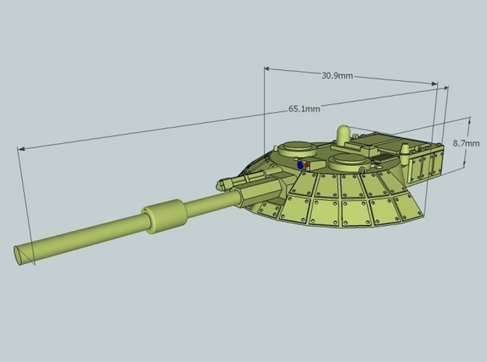 15mm Sci-Fi/Near Future Tank Turret 3d printed