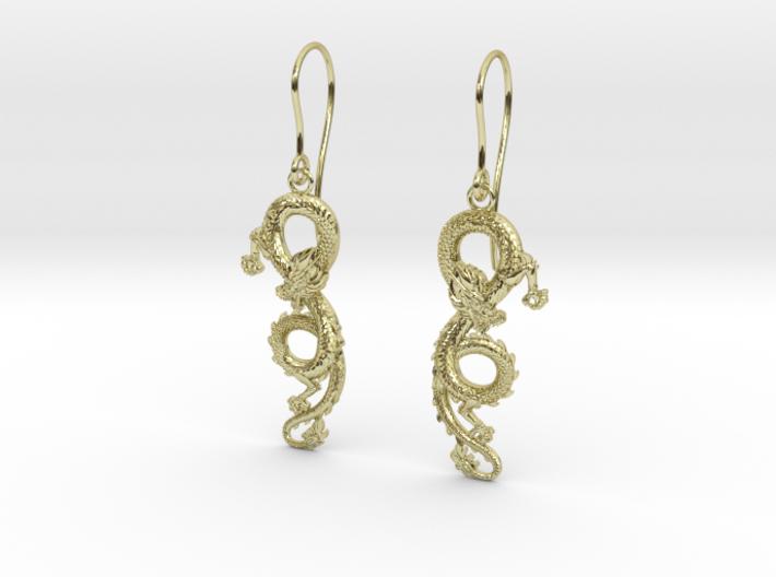 Dragon earrings 3d printed