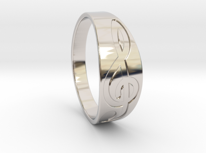 Size 10 M G-Clef Ring Engraved 3d printed