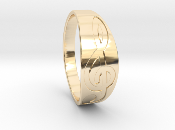Size 11 M G-Clef Ring Engraved 3d printed