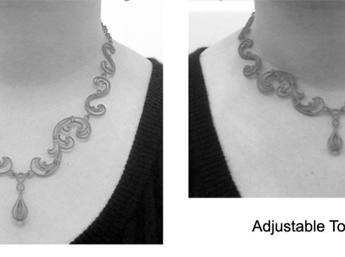 Floral Vine Necklace w/ Toggle Clasp in Nylon 3d printed Adjustable length