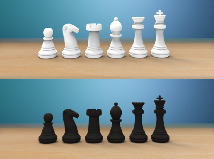 Chess Set (1x Each Piece) 3d printed