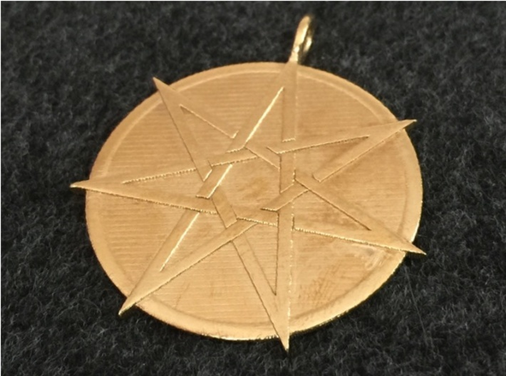Fairy Star Pendant 3d printed The Fairy Star (heptagram) pendant in raw brass.