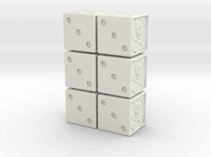 16mm Dice: Jolly Rogers 6 Count (hollow) 3d printed