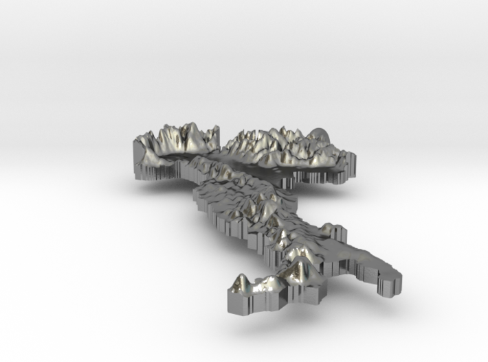 Italy Terrain Silver Pendant 3d printed