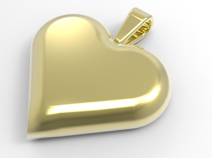 Secret heart pendant [customizable] 3d printed The front of the heart, rendered in polished brass
