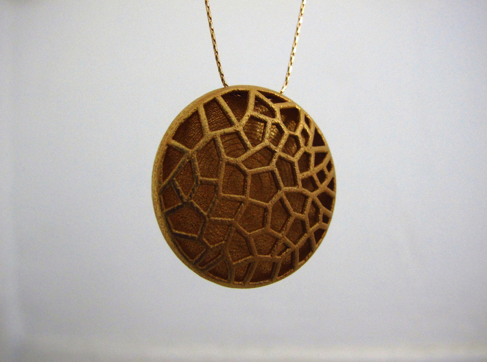 Bio Cell Pendant - closed back 3d printed Gold Plated Matte