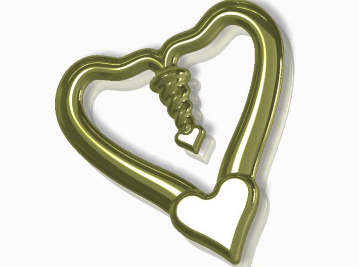 Valentine, 1.5 SCALE 2 Hearts, One Love 3d printed Gold plated render