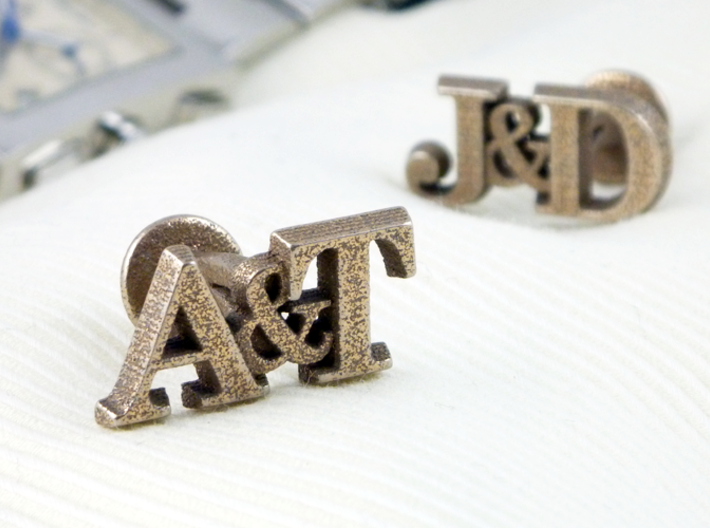 Personalised Initial Cufflinks 3d printed Personalised initial cufflinks - steel