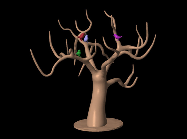 Jewellery Tree With Birds 3d printed