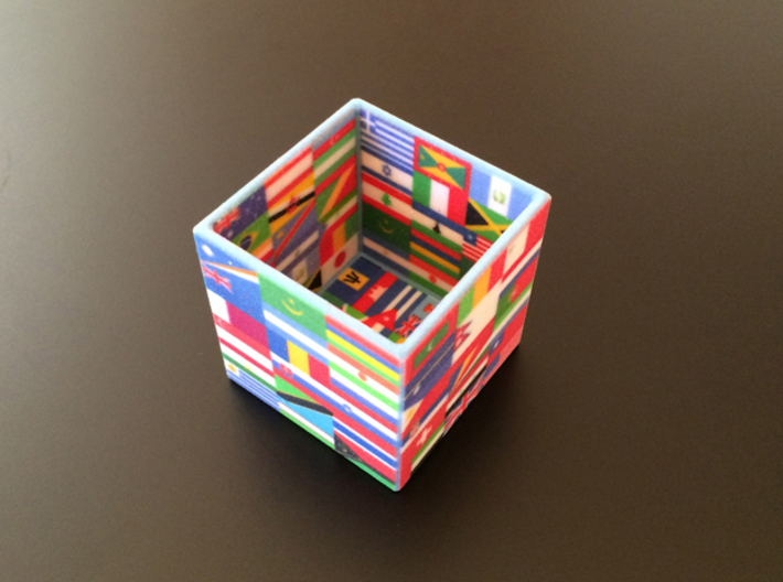 Cube with flags of the nations 3d printed 3