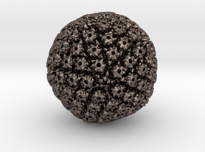 Herpes Simplex virus capsid, radial colour 500kx m 3d printed
